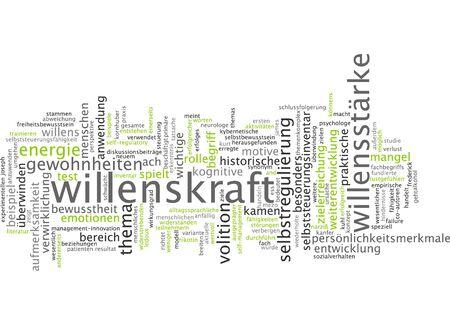 willpower: Parola nube di forza di volont� in lingua tedesca Archivio Fotografico