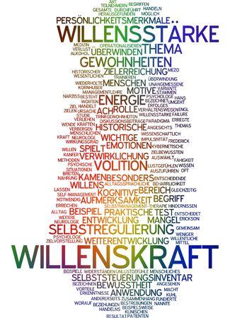self realization: Word cloud of willpower in German language
