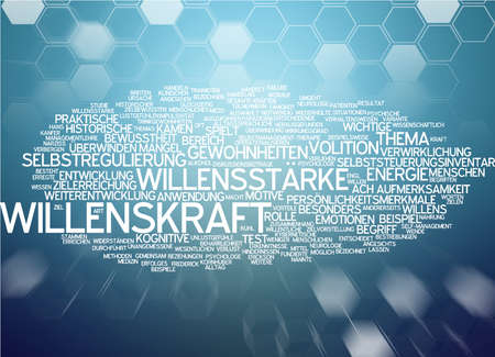 willpower: Word cloud of willpower in German language