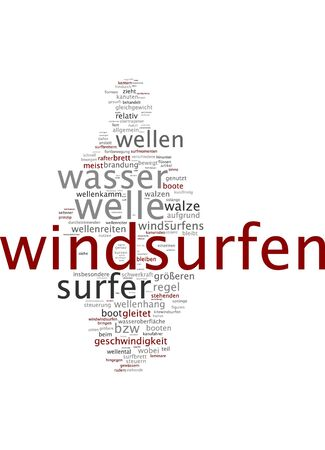 self realization: Word cloud of windsurfing in German language