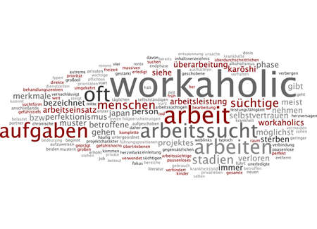 investigated: Word cloud of workaholic in German language Stock Photo