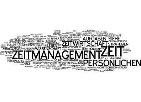 easier: Word cloud of time management in German language Stock Photo