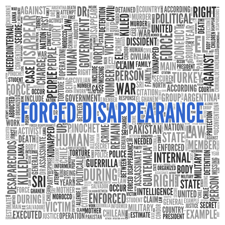assassinate: Close up FORCED DISAPPEARANCE Text at the Center of Word Tag Cloud on White Background.