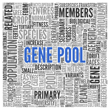 gp: Close up GENE POOL Text at the Center of Word Tag Cloud on White Background. Stock Photo