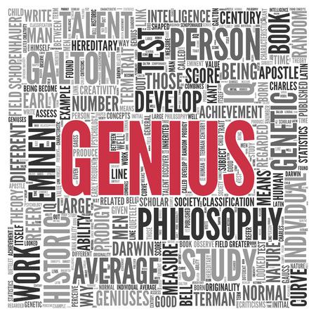 白背景に単語タグクラウド センターで天才を閉じます。