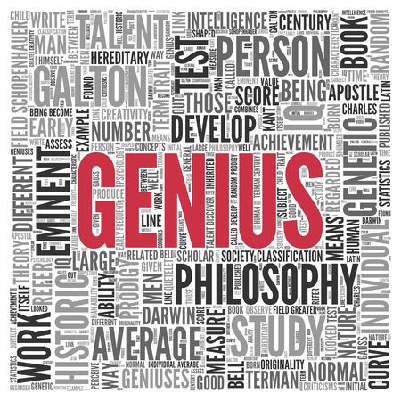 eminent: Close up GENIUS Text at the Center of Word Tag Cloud on White Background. Stock Photo