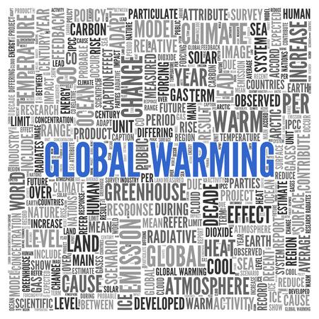 calentamiento global: Cierre de GLOBAL CALENTAMIENTO texto en el Tag Centro de nube de la palabra en el fondo blanco. Foto de archivo