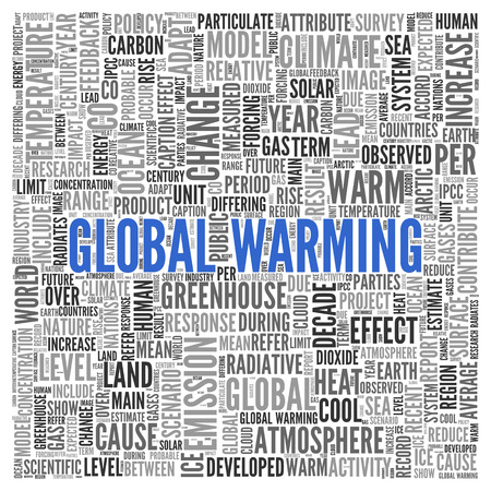 Close up GLOBAL WARMING Text at the Center of Word Tag Cloud on White Background. Stock Photo