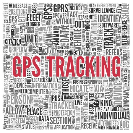 tag cloud: Close up GPS TRACKING Text at the Center of Word Tag Cloud on White Background.