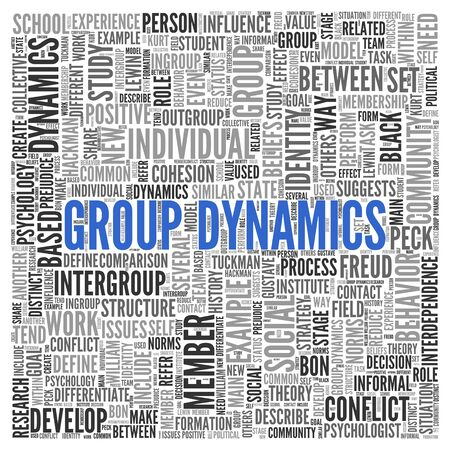 Close up GROUP DYNAMICS Text at the Center of Word Tag Cloud on White Background.