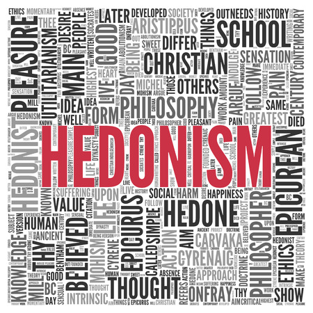 life is good: Close up HEDONISM Text at the Center of Word Tag Cloud on White Background. Stock Photo