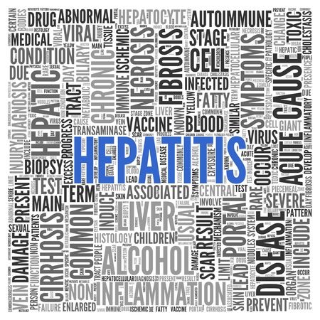 liver cells: Close up HEPATITIS Text at the Center of Word Tag Cloud on White Background. Stock Photo