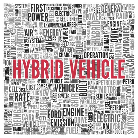 tag cloud: Close up HYBRID VEHICLE Text at the Center of Word Tag Cloud on White Background.