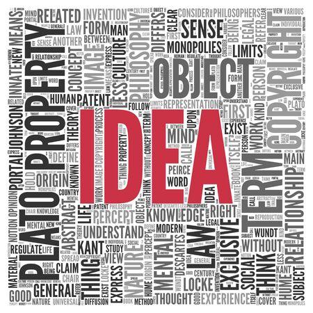 mental object: Cierre de IDEA Texto en el Tag Centro de nube de la palabra en el fondo blanco.