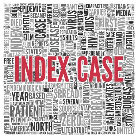 tag cloud: Close up INDEX CASE Text at the Center of Word Tag Cloud on White Background.