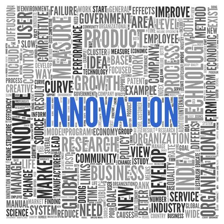 global innovation: Close up INNOVATION Text at the Center of Word Tag Cloud on White Background. Stock Photo