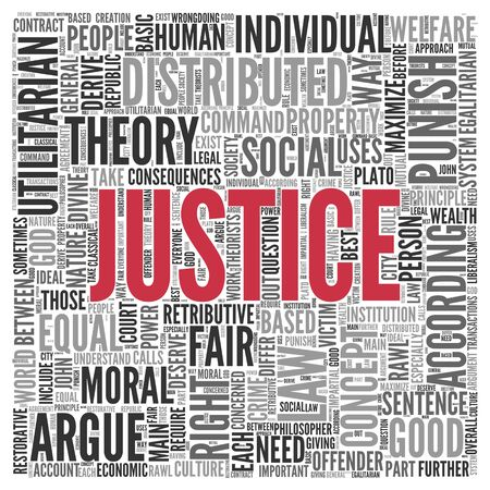 distributed: Close up JUSTICE Text at the Center of Word Tag Cloud on White Background.
