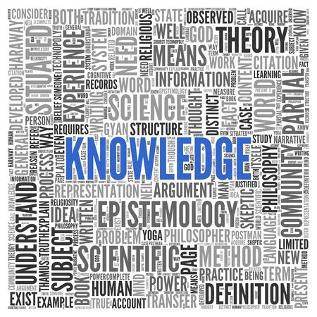 epistemology: Close up KNOWLEDGE Text at the Center of Word Tag Cloud on White Background. Stock Photo