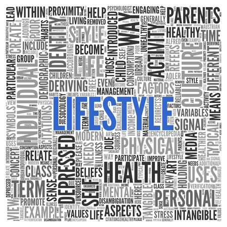 tag cloud: Close up Blue LIFESTYLE Text at the Center of Word Tag Cloud on White Background.