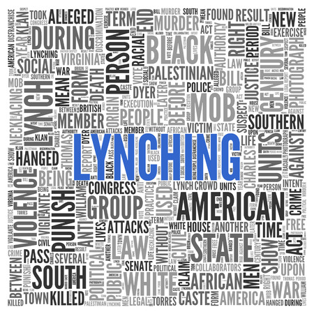tag cloud: Close up Blue LYNCHING Text at the Center of Word Tag Cloud on White Background.