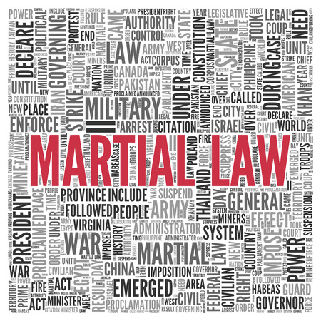 martial law: Close up Red MELANOMA Text at the Center of Word Tag Cloud on White Background.