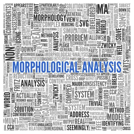 developed: Close up Blue MORPHOLOGICAL ANALYSIS Text at the Center of Word Tag Cloud on White Background. Stock Photo
