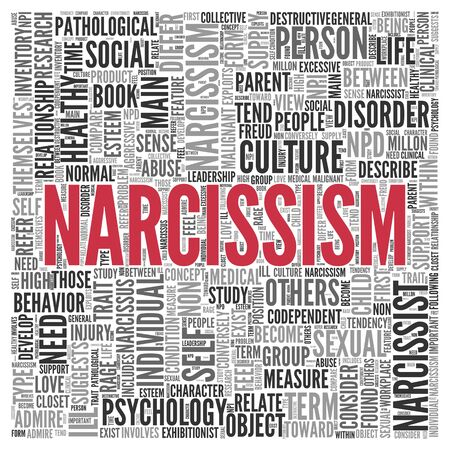 narcissist: Close up Red NATURAL CAPITAL Text at the Center of Word Tag Cloud on White Background.