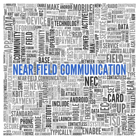near: Close up Blue NEAR FIELD COMMUNICATION Text at the Center of Word Tag Cloud on White Background.