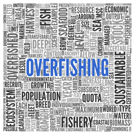 overfishing: Close up Blue OVERFISHING Text at the Center of Word Tag Cloud on White Background.