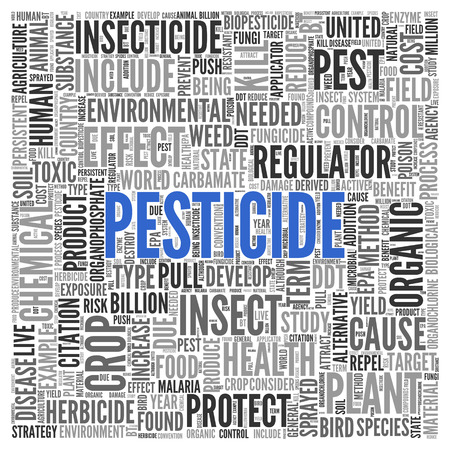 herbicide: Close up Blue PESTICIDE Text at the Center of Word Tag Cloud on White Background.