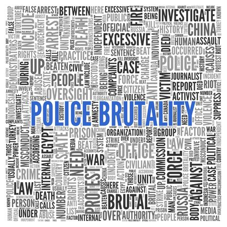 under arrest: Close up Blue POLICE BRUTALITY Text at the Center of Word Tag Cloud on White Background. Stock Photo