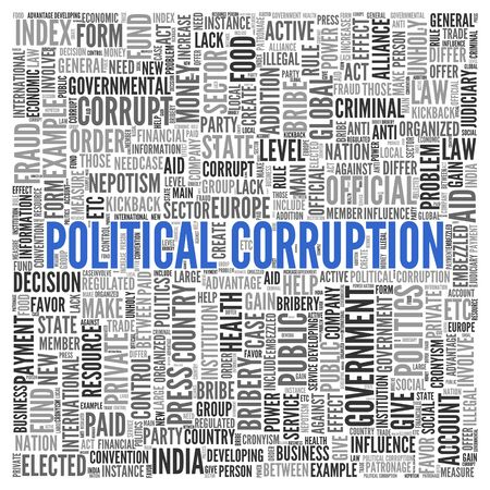 Close up Blue POLITICAL CORRUPTION Text at the Center of Word Tag Cloud on White Background. photo