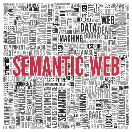 ontology: Close up Red SEMANTIC WEB Text at the Center of Word Tag Cloud on White Background.