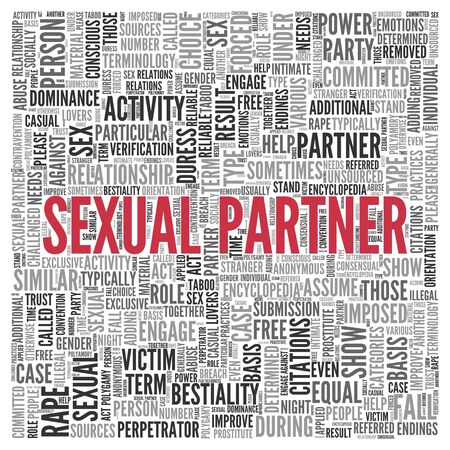 Close up Red SEXUAL PARTNER Text at the Center of Word Tag Cloud on White Background.
