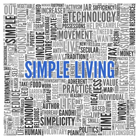 Close up Blue SIMPLE LIVING Text at the Center of Word Tag Cloud on White Background.