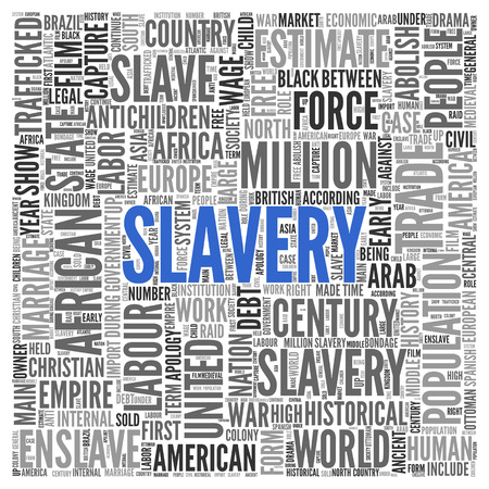 enslave: Close up Blue SLAVERY Text at the Center of Word Tag Cloud on White Background. Stock Photo