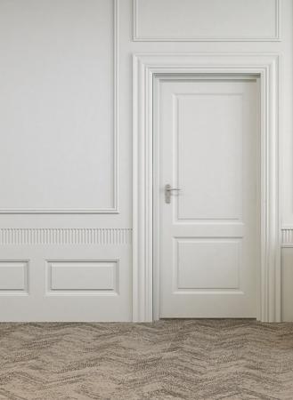 Einfache Single Door on White Architektur Empty Room mit abstrakten Design Bodenbelag. Standard-Bild