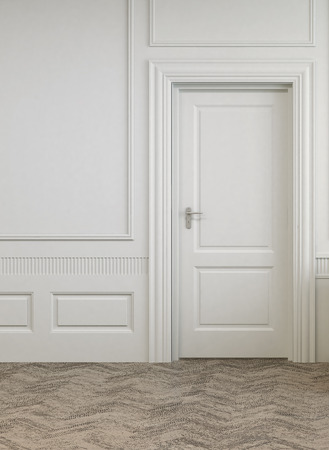 uncarpeted: Simple Single Door on White Architectural Empty Room with Abstract Design Flooring.