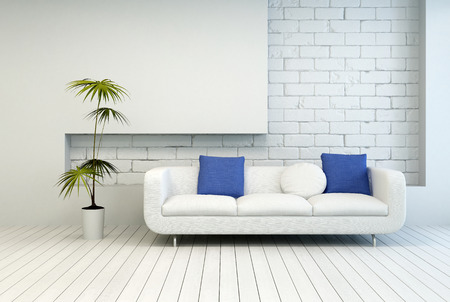 Fresh Green Plant Near White Couch with White and Blue Pillows at Architectural Living Room with White Wall and Flooring. Standard-Bild