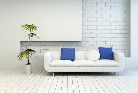 Frische Grünpflanze der Umgebung von White Couch mit weißen und blauen Kissen an Architectural Wohnzimmer mit weißen Wand-und Bodenbelag. Standard-Bild