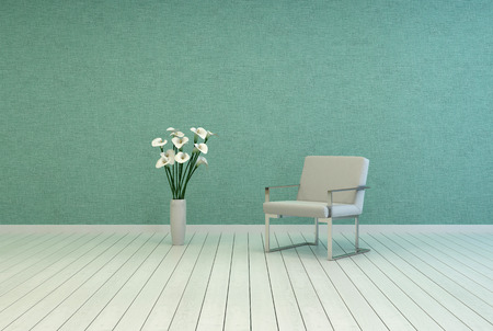 uncarpeted: Elegant White Vase, with Fresh White Flowers, and Single White Chair on Empty Room with Green Wall and White Flooring