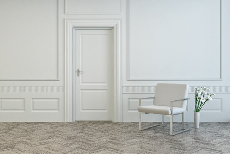 Conceptual White Elegant Chair and Vase, with Fresh Flowers, Near Single Door at Architectural White Room. Stock Photo