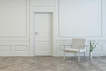 Konzeptionelle Weiß Elegante Stuhl und Vase mit frischen Blumen, in der Nähe Single Door in Architectural White Room.