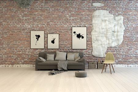 paredes de ladrillos: Sofá gris genérico con cojines cómodos y escabel contra una pared de ladrillo con ilustraciones abstractas en una sala de luz grande con tablas de madera pintadas de blanco