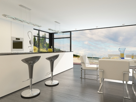fitted: Modern open plan kitchen with a bar counter with stylish contemporary design bar stools, fitted cabinets and appliances and a large bright view window