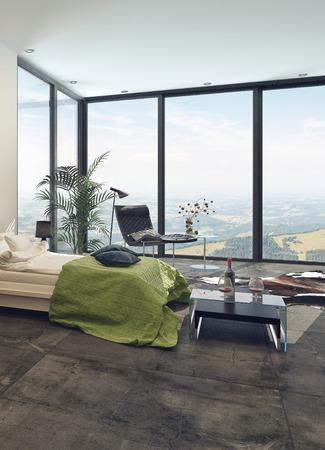 divan: Elegante interior dormitorio moderno con ventanas panor�micas de piso a techo de vista, un sommier doble, mesas y silla con plantas en macetas, luminoso y aireado Foto de archivo