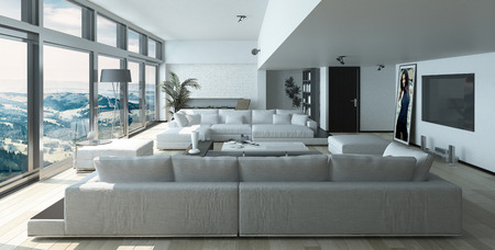 Modern Residence Living Room Design with Elegant Furniture and Ornaments near Glass Windows