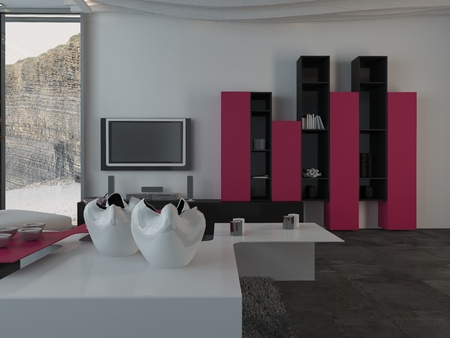 furnished: Fully Furnished Modern Architectural Interior House Design with Furniture and Appliances.