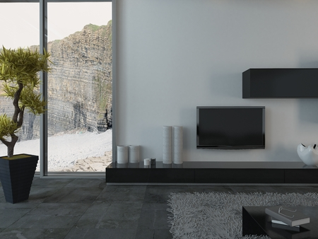 Modern Living Room with Flat Screen Television and House Plant and View of Cliffs Through Window
