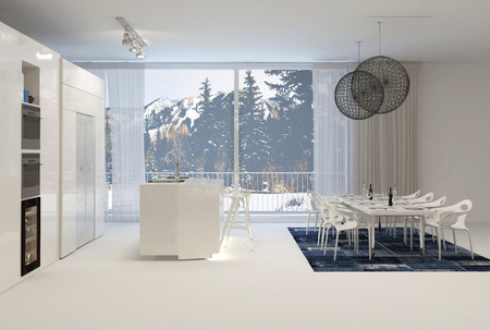 winter window: Modern White Kitchen with Eat In Dining Table and Large Windows with View of Snowy Mountains